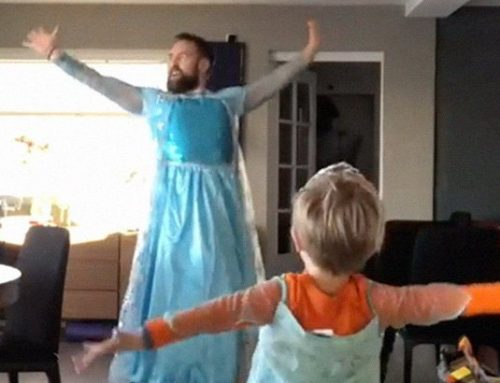 "Watch: When his son wanted to dance to ""Frozen"" songs, this dad put on an Elsa costume and danced with him."