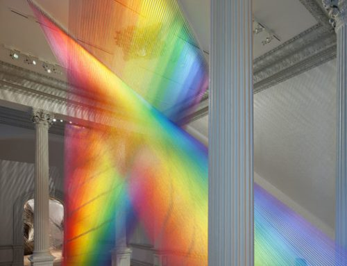 Watch: How they made an indoor rainbow with 60 miles of colored thread.
