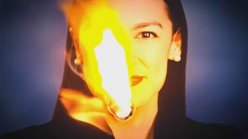 Republicans and ABC slammed for airing ad showing Alexandria Ocasio-Cortez photo on fire.